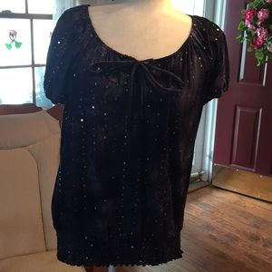 Dressbarn top in navy blue & sequins